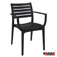 Vanna Real Arm Chair - Black